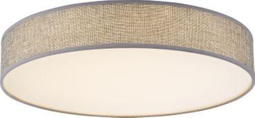 Deckenlampe PACO, Metall weiss, Textil grau, Globo 15185D1