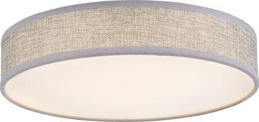 Deckenlampe PACO, Metall weiss, Textil grau, Globo 15185D2