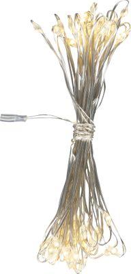 Lichterkette Kupfer Silber metallic, 50 LEDs warmweiss, Schalter