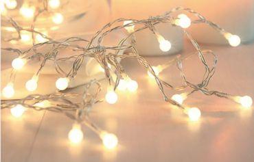 Lichterkette weiss, 50 LEDs warmweiss, Schalter – Bild 1