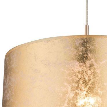 Hängelampe Nickel matt, Textil goldfarben, Acryl satiniert, inkl. Aufhängung – Bild 2