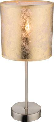 Tischlampe AMY I, nickel matt, Textil goldfarben, Globo 15187T – Bild 1