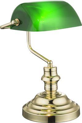 Tischlampe ANTIQUE, messing, Acryl grün, Globo 2491K – Bild 1