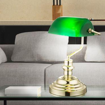 Tischlampe ANTIQUE, messing, Acryl grün, Globo 2491K – Bild 4