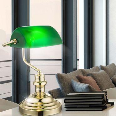 Tischlampe ANTIQUE, messing, Acryl grün, Globo 2491K – Bild 6