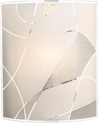 Wandlampe weiss Chrom, Glas satiniert, Dekorlinien – Bild 1