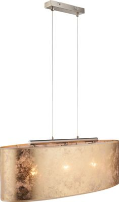 Hängelampe Nickel matt, Textil Goldfarben, Acryl satiniert, inkl. Aufhängung, Schirm 20 cm – Bild 4