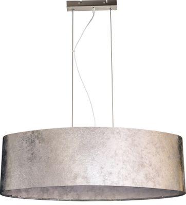 Hängelampe Nickel matt, Textil Silber metallic, Acryl satiniert, inkl. Aufhängung, Schirm 20 cm – Bild 6