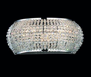 Wandlampe mit geschliffenen Kristallperlen, verchromt – Bild 1