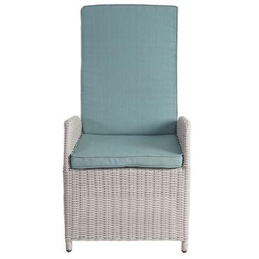 Luxus Poly-Rattan-Garnitur, Premium Alu-Sitzgruppe Tisch + 6 verstellbare Stühle hellgrau – Bild 5