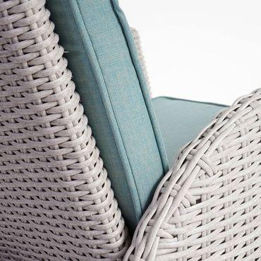 Luxus Poly-Rattan-Garnitur, Premium Alu-Sitzgruppe Tisch + 6 verstellbare Stühle hellgrau – Bild 6