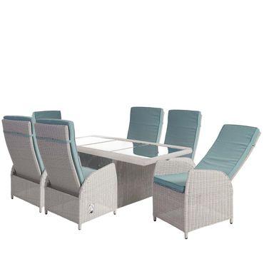 Luxus Poly-Rattan-Garnitur, Premium Alu-Sitzgruppe Tisch + 6 verstellbare Stühle hellgrau