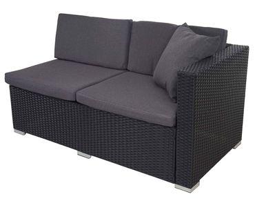 Poly-Rattan Sofa-Garnitur, Sitzgruppe Lounge-Set, Stahl anthrazit, Kissen anthrazit – Bild 3