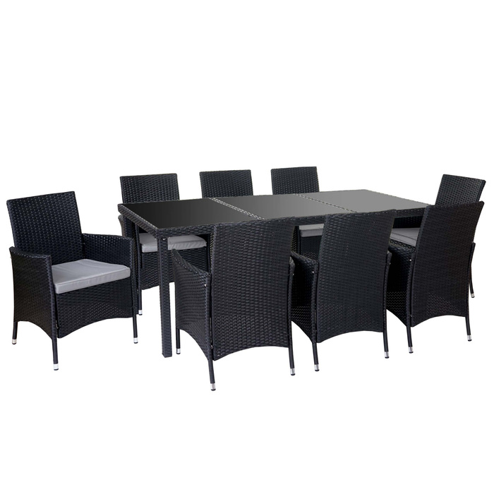 poly rattan garnitur garten sitzgruppe tisch 8 sessel alu anthrazit kissen hellgrau garten. Black Bedroom Furniture Sets. Home Design Ideas