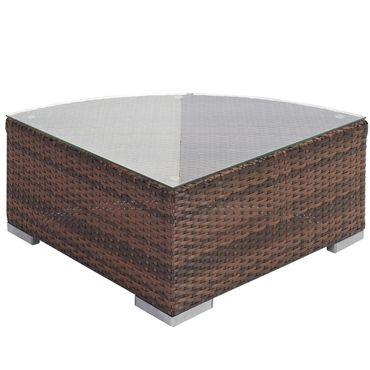 Poly-Rattan-Garnitur, Gartengarnitur Sitzgruppe Lounge-Set, Alu braun-meliert, flaches Rattan – Bild 3