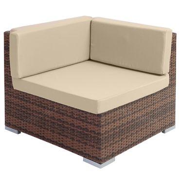 Poly-Rattan-Garnitur, Gartengarnitur Sitzgruppe Lounge-Set, Alu braun-meliert, flaches Rattan – Bild 4