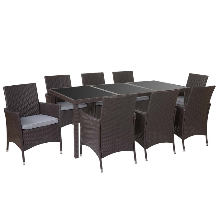 poly rattan garnitur garten sitzgruppe tisch 8 sessel alu braun kissen hellgrau garten. Black Bedroom Furniture Sets. Home Design Ideas