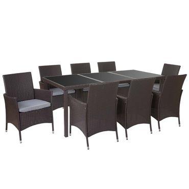 Poly-Rattan-Garnitur, Garten Sitzgruppe Tisch + 8 Sessel, Alu braun, Kissen hellgrau – Bild 1