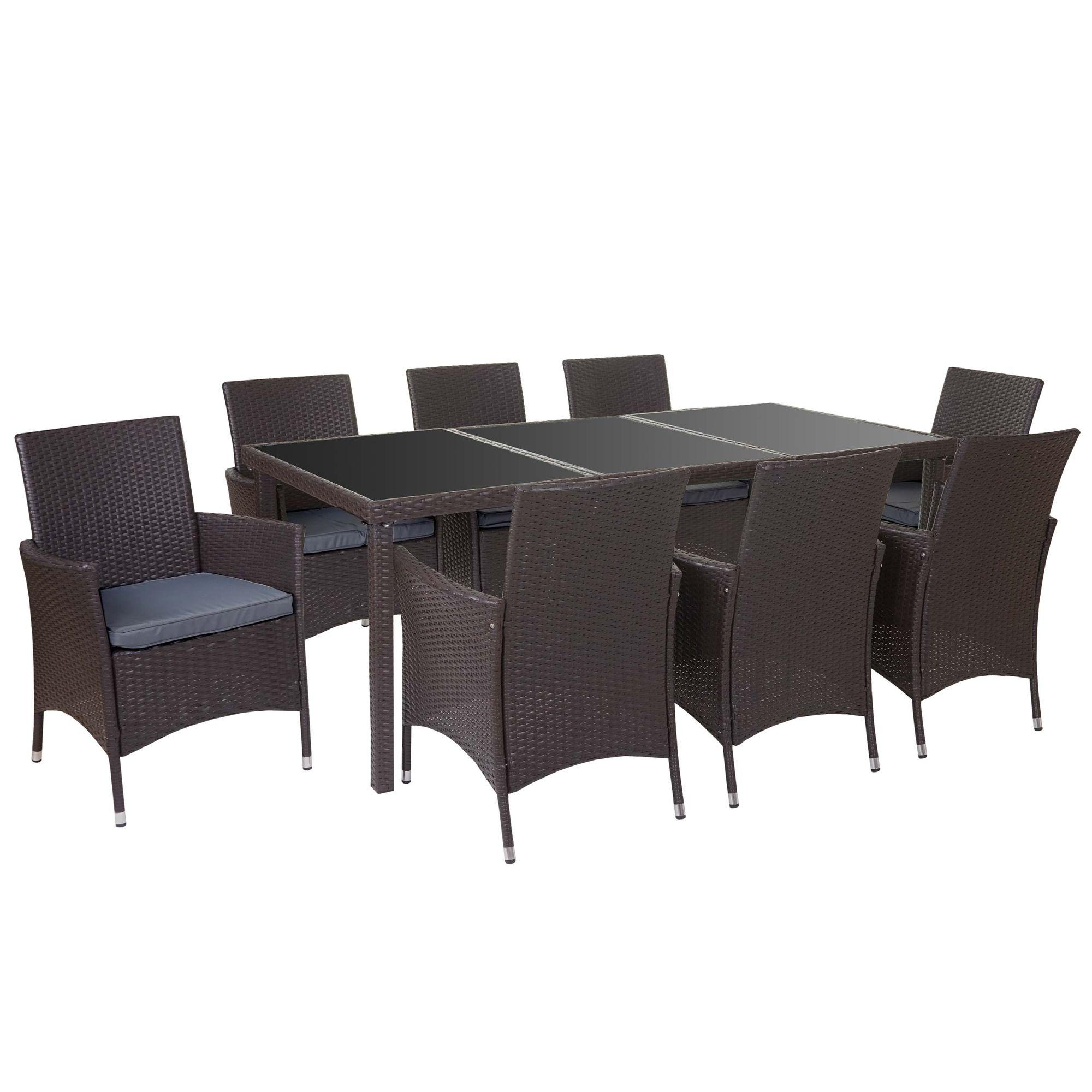 Poly-Rattan-Garnitur, Garten Sitzgruppe Tisch + 8 Sessel, Alu braun ...