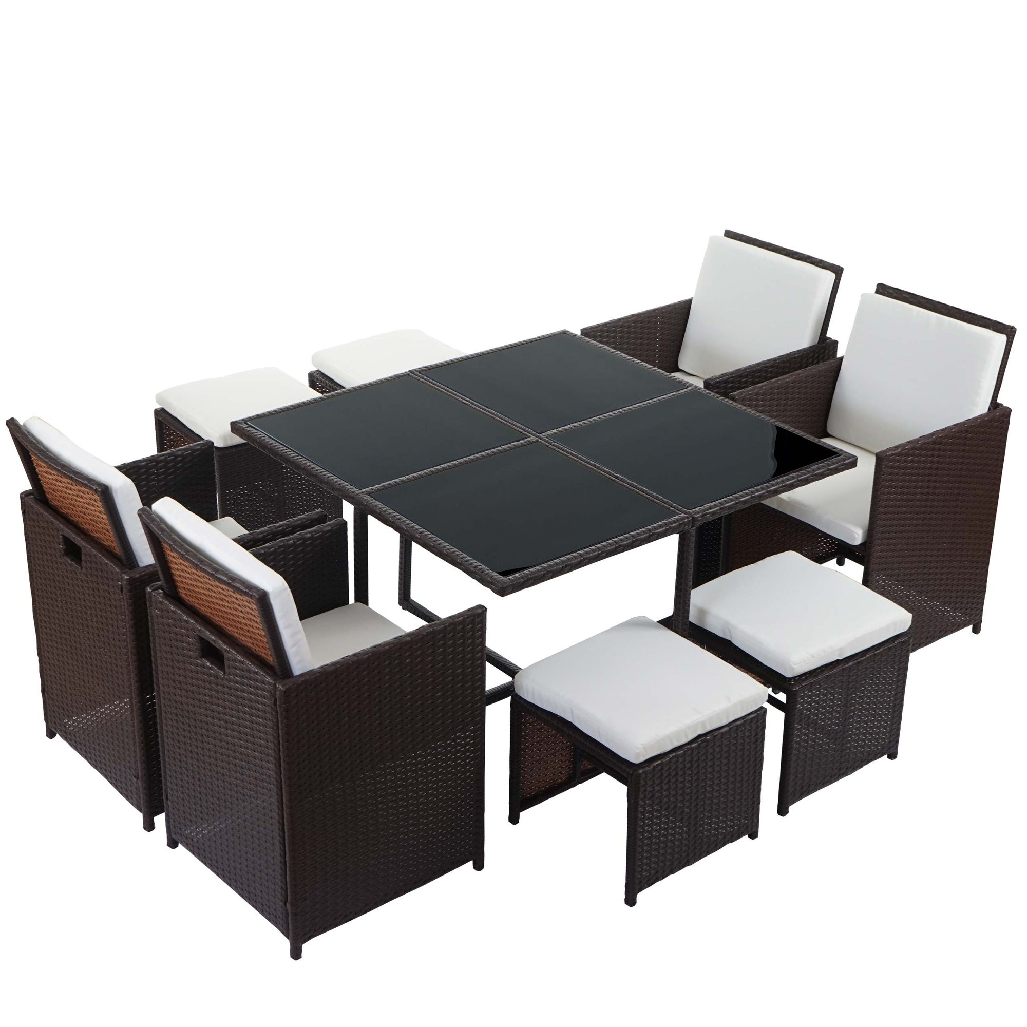 poly rattan garten garnitur lounge set sitzgruppe 4 st hle braun kissen creme garten. Black Bedroom Furniture Sets. Home Design Ideas