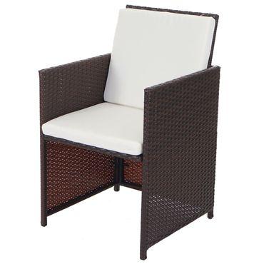 Poly-Rattan Garten-Garnitur, Lounge-Set Sitzgruppe 4 Stühle braun, Kissen creme – Bild 5