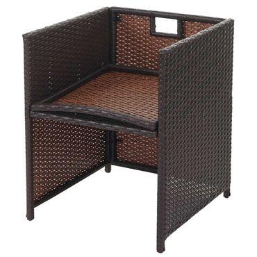 Poly-Rattan Garten-Garnitur, Lounge-Set Sitzgruppe 4 Stühle braun, Kissen creme – Bild 7