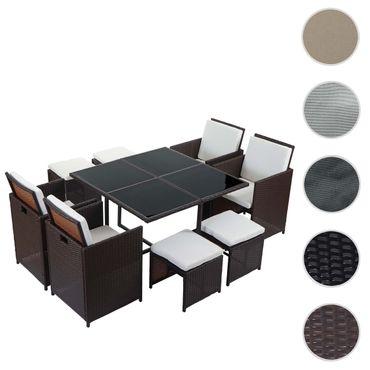 Poly-Rattan Garten-Garnitur, Lounge-Set Sitzgruppe 4 Stühle braun, Kissen creme – Bild 8