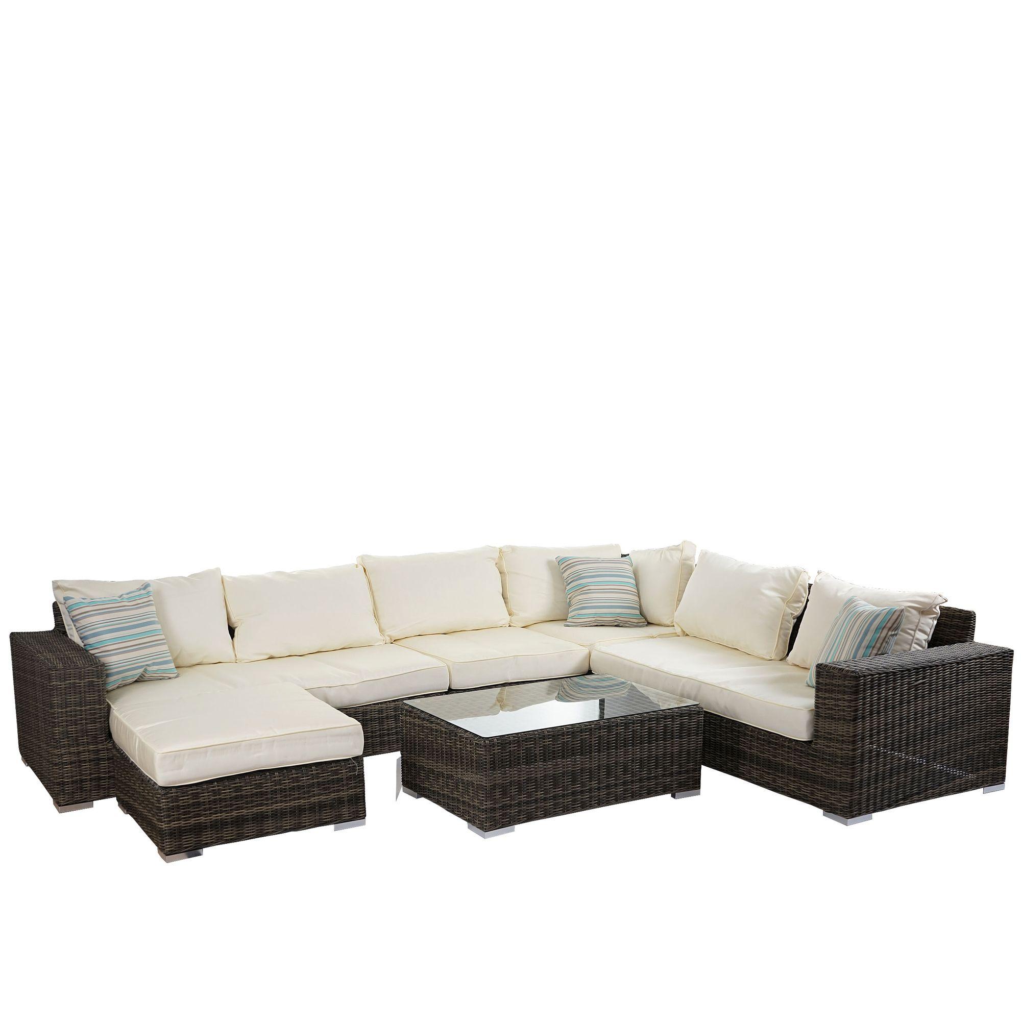 luxus poly rattan sofa garnitur melilla lounge set gartengarnitur alu gestell garten. Black Bedroom Furniture Sets. Home Design Ideas