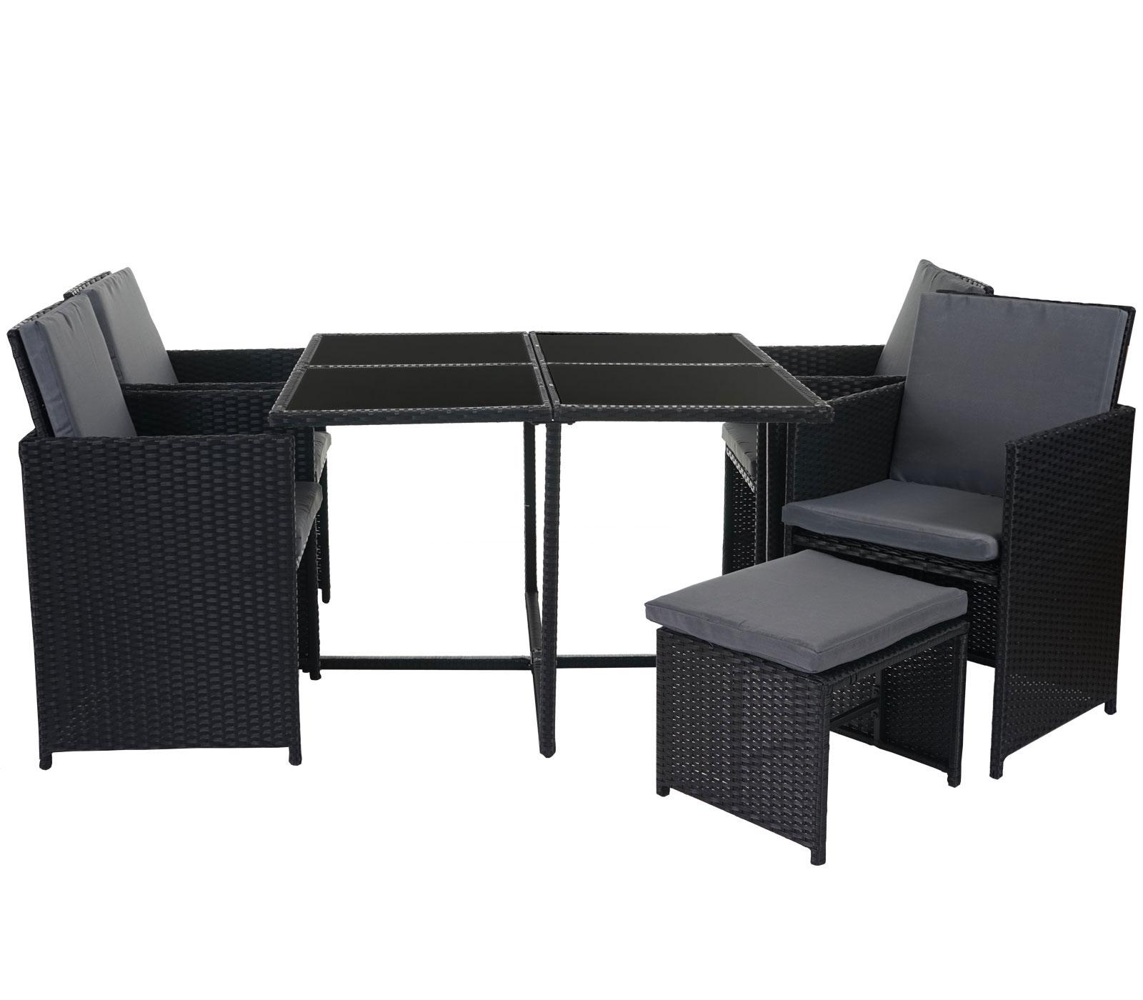 poly rattan garten garnitur lounge set sitzgruppe 4 st hle schwarz kissen grau garten. Black Bedroom Furniture Sets. Home Design Ideas