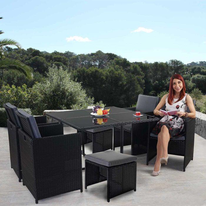 Perfekt Poly Rattan Garten Garnitur, Lounge Set Sitzgruppe 4 Stühle Schwarz, Kissen