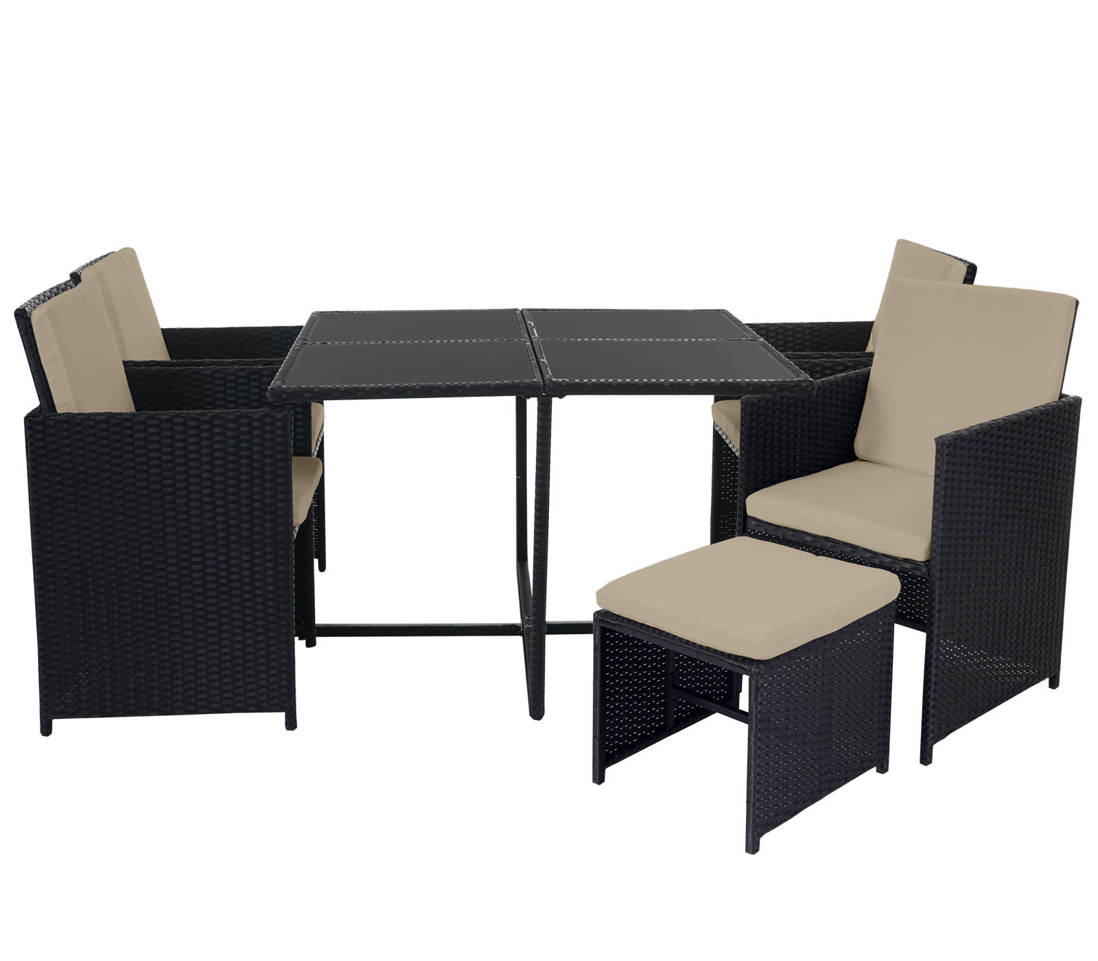 poly rattan garten garnitur lounge set sitzgruppe 4 st hle schwarz kissen beige garten. Black Bedroom Furniture Sets. Home Design Ideas