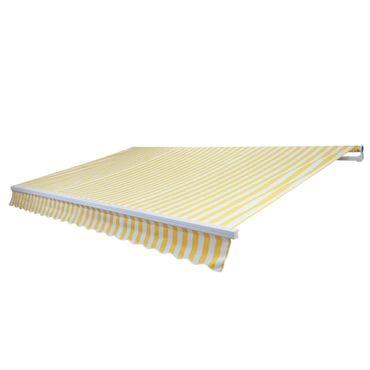 Alu-Markise, Gelenkarmmarkise Sonnenschutz 4x3m Polyester Gelb/Weiss – Bild 2