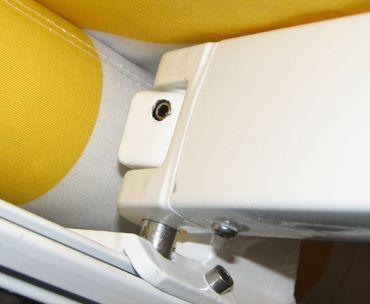 Elektrische Kassettenmarkise, Markise Vollkassette mit Volant 5x3m Acryl Gelb/Weiss – Bild 3