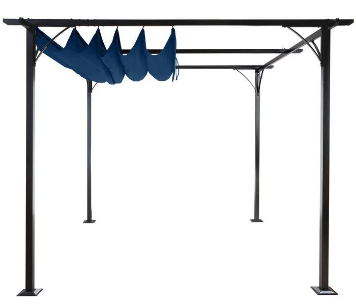 pergola garten pavillon stabiles 6cm gestell schiebedach 3x3m blau garten gartenzelte pavillons. Black Bedroom Furniture Sets. Home Design Ideas