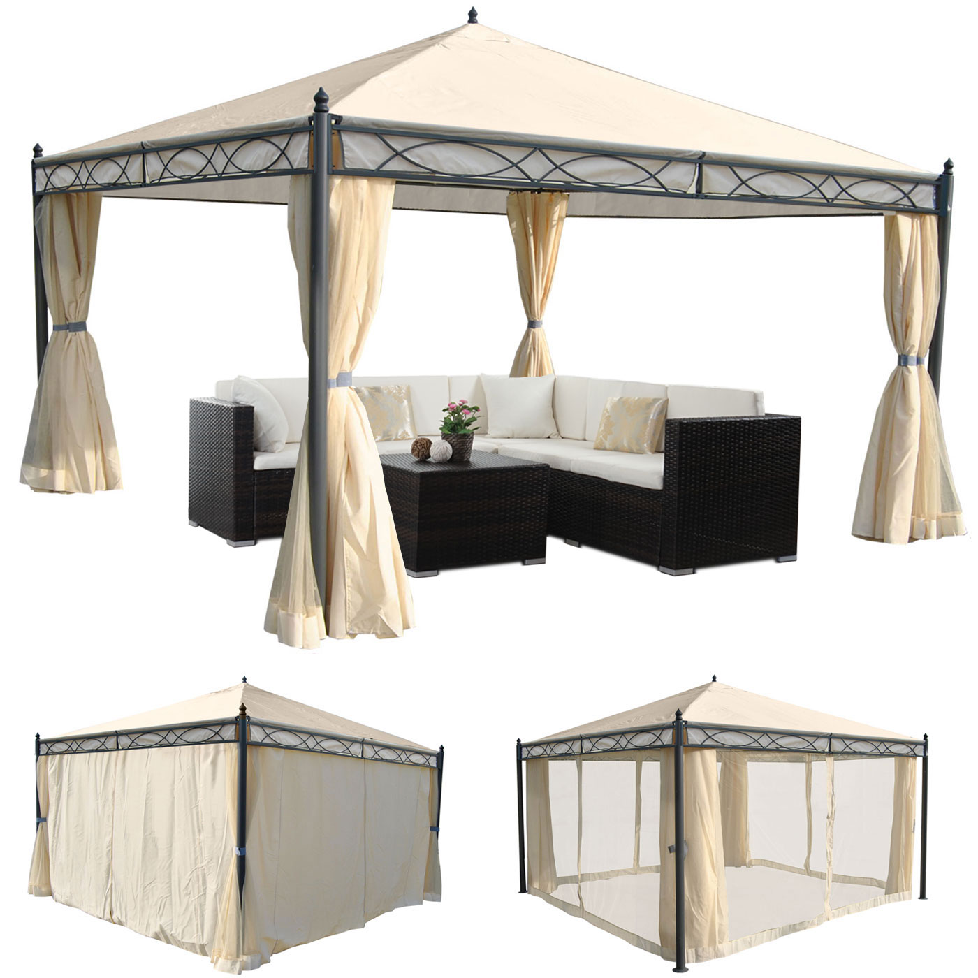 pergola garten pavillon stabiles 7cm gestell mit seitenwand moskitonetz creme 4x4m garten. Black Bedroom Furniture Sets. Home Design Ideas