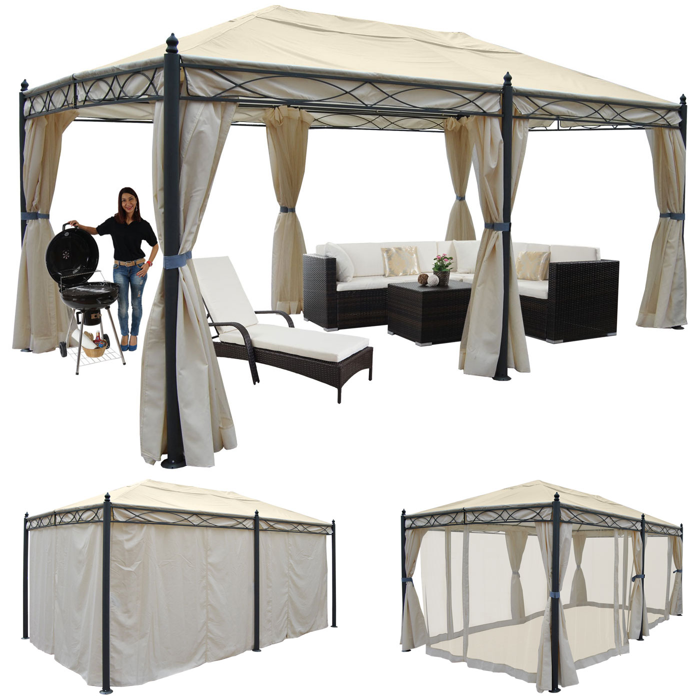 pergola pavillon stabiles 7cm gestell 5x3m creme mit seitenwand moskitonetz garten. Black Bedroom Furniture Sets. Home Design Ideas