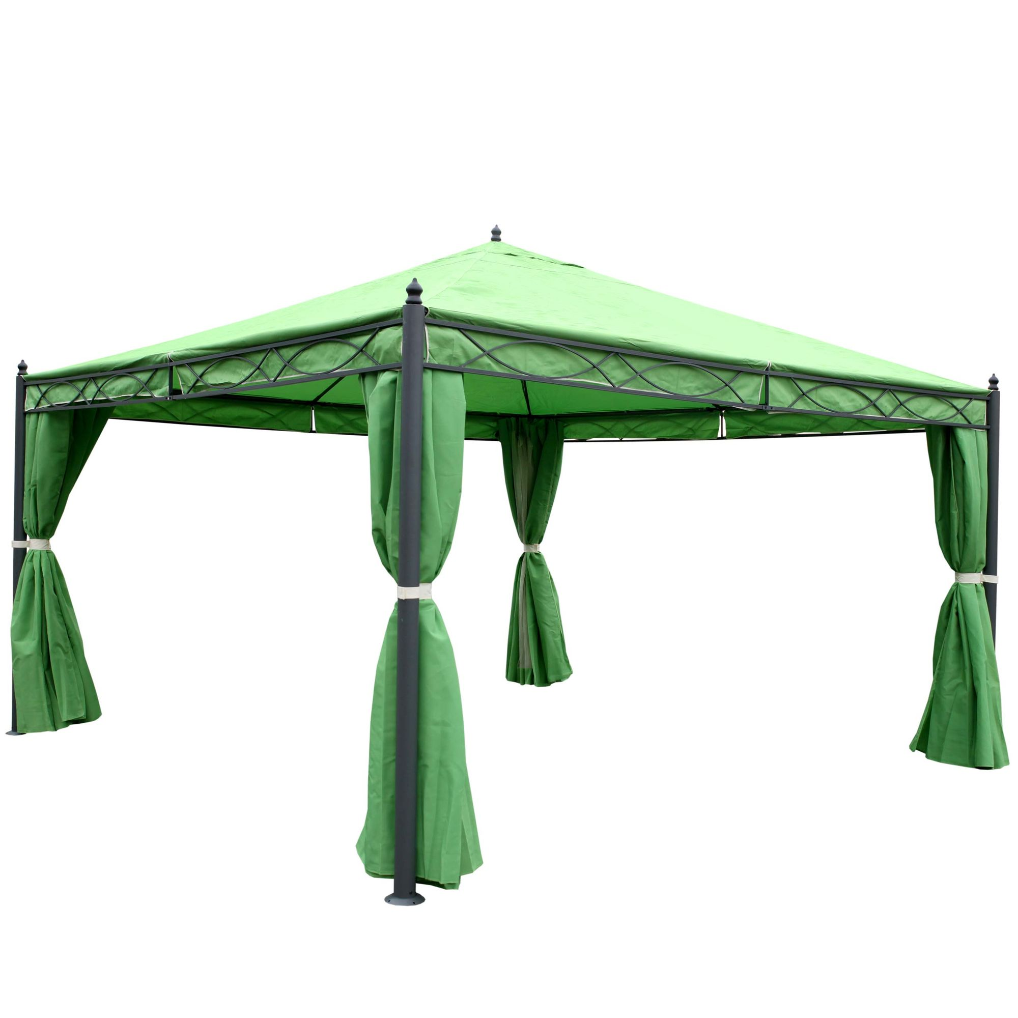 pergola garten pavillon stabiles 7cm gestell mit seitenwand moskitonetz gr n 4x4m garten. Black Bedroom Furniture Sets. Home Design Ideas
