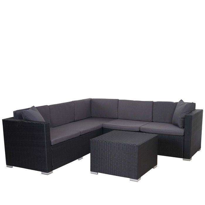 poly rattan sofa garnitur sitzgruppe lounge set alu anthrazit kissen anthrazit garten. Black Bedroom Furniture Sets. Home Design Ideas