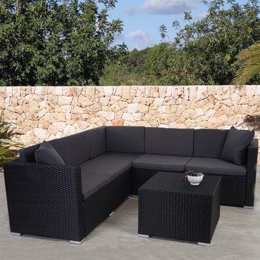 Poly-Rattan Sofa-Garnitur, Sitzgruppe Lounge-Set, Alu anthrazit, Kissen anthrazit – Bild 2
