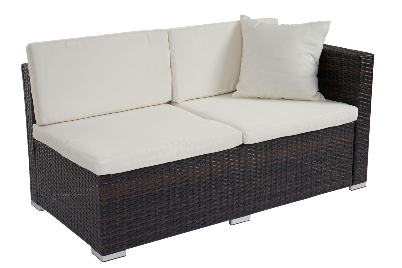 poly rattan sofa garnitur sitzgruppe lounge set alu braun meliert kissen creme garten. Black Bedroom Furniture Sets. Home Design Ideas