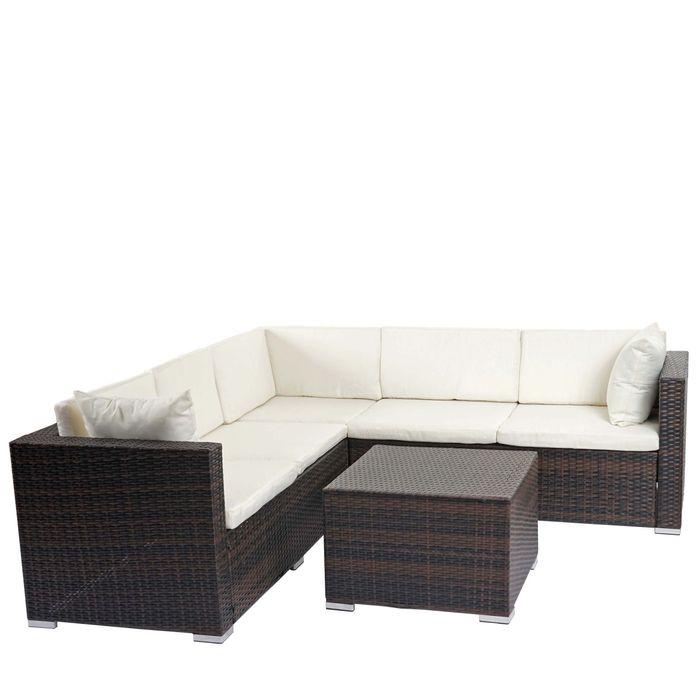 Poly Rattan Sofa Garnitur Sitzgruppe Lounge Set Alu Braun Meliert