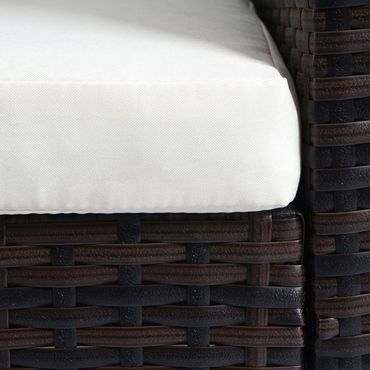 Poly-Rattan Sofa-Garnitur, Sitzgruppe Lounge-Set, Alu braun-meliert, Kissen creme – Bild 6