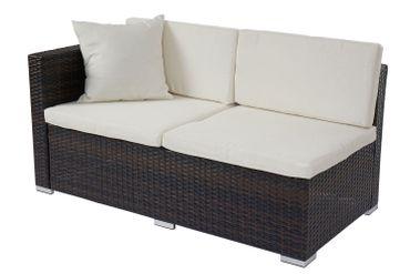 Poly-Rattan Sofa-Garnitur, Sitzgruppe Lounge-Set, Alu braun-meliert, Kissen creme – Bild 8