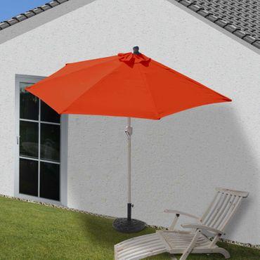 Alu-Sonnenschirm halbrund, Halbschirm Balkonschirm, UV 50+ 270cm terrakotta mit Ständer – Bild 2