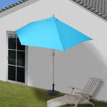 Alu-Sonnenschirm halbrund, Halbschirm Balkonschirm, UV 50+ 270cm türkis mit Ständer – Bild 2