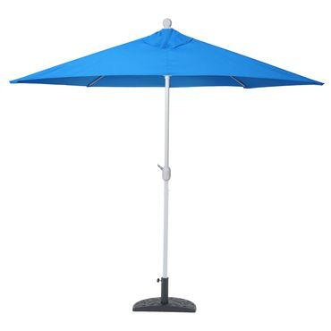Alu-Sonnenschirm halbrund, Halbschirm Balkonschirm, UV 50+ 300cm blau mit Ständer – Bild 4