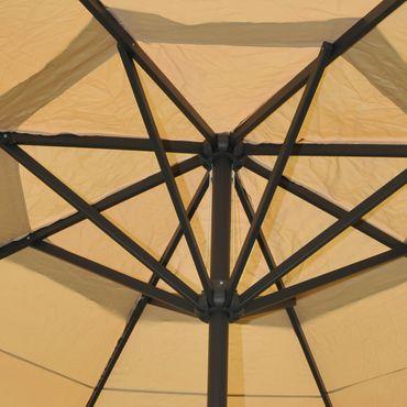 Alu-Sonnenschirm Meran Pro, Gastronomie Marktschirm ohne Volant Ø 5m creme mit Ständer – Bild 3