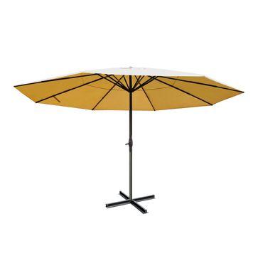 Alu-Sonnenschirm Meran Pro, Gastronomie Marktschirm ohne Volant Ø 5m creme ohne Ständer – Bild 1