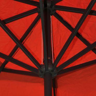 Alu-Sonnenschirm Meran, Gastronomie Marktschirm mit Volant Ø 5m terrakotta mit Ständer – Bild 4