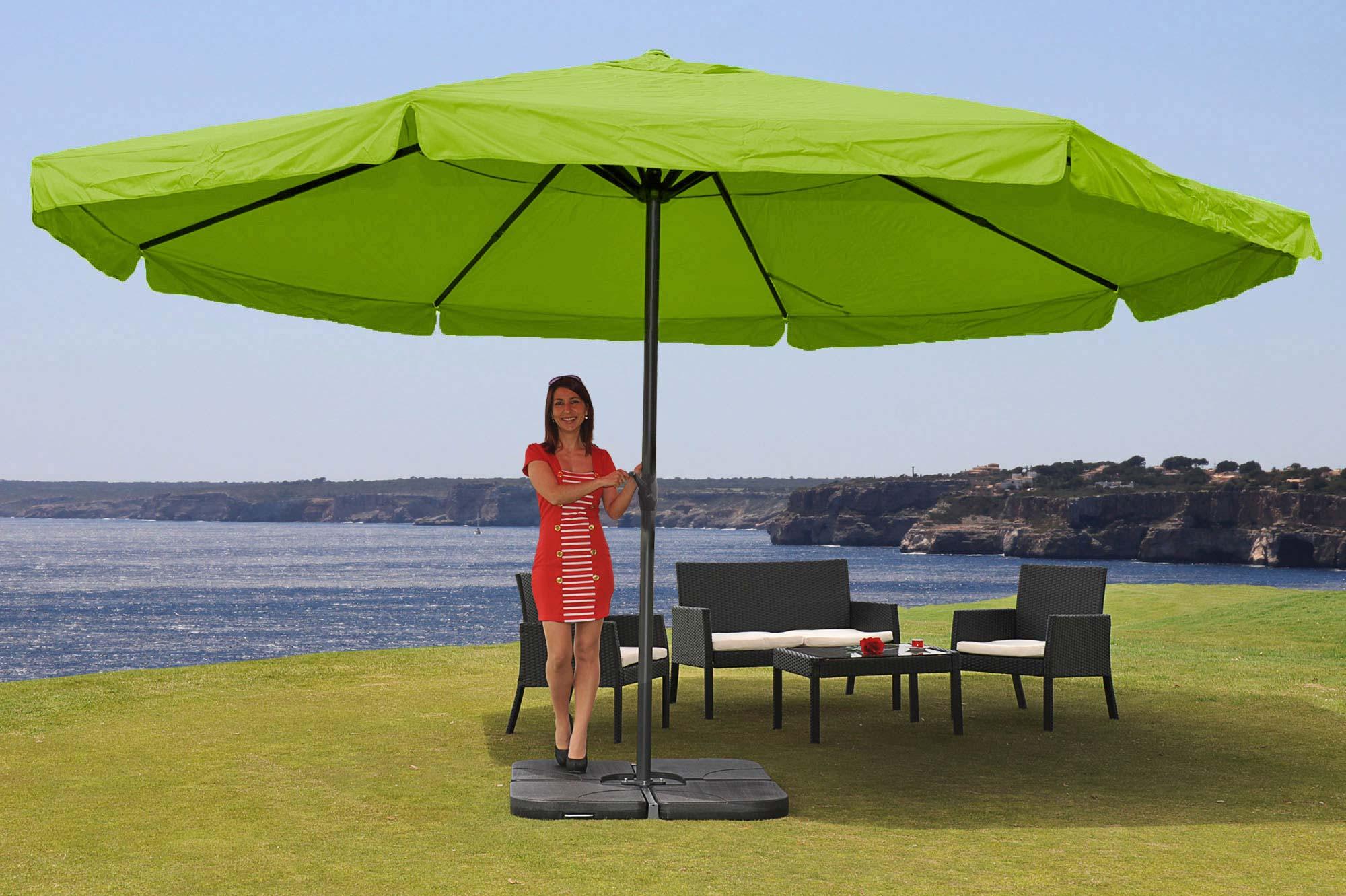 alu sonnenschirm meran pro gastronomie marktschirm mit volant 5m gr n mit st nder garten. Black Bedroom Furniture Sets. Home Design Ideas